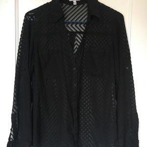 Express Portofino Shirt Black Patterned